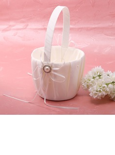 Elegant Flower Basket in Satin With Ribbon & Faux Pearl (102026350)