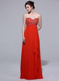 Empire-Linie Herzausschnitt Bodenlang Chiffon Abendkleid mit Perlen verziert Gestufte Rüschen (017039962)