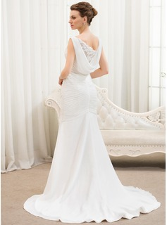 Trumpet/Mermaid V-neck Court Train Chiffon Tulle Wedding Dress With Ruffle Lace Beading Sequins (002054619)