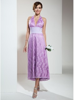 Cheap Bridesmaid Dresses A-Line/Princess Halter Asymmetrical Chiffon Lace Bridesmaid Dress With Ruffle Beading (007001135)