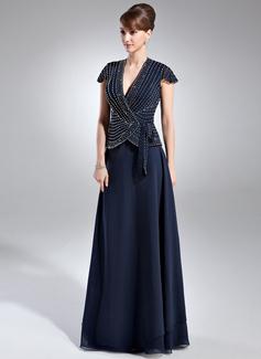 A-Linie/Princess-Linie V-Ausschnitt Bodenlang Chiffon Kleid für die Brautmutter mit Perlen verziert (008005936)