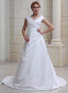 Forme Princesse Epaules nues Traîne chappelle Taffeta Robe de mariée avec Plissé (002012105)