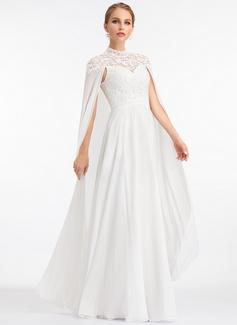 A-Linje hög Hals Golvlång Chiffong Bröllopsklänning (002207443)