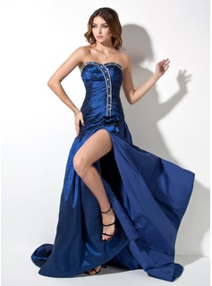 A-Line/Princess Sweetheart Court Train Taffeta Prom Dresses With Ruffle Beading Split Front (018002492)