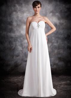 Empire-Linie Herzausschnitt Sweep/Pinsel zug Chiffon Abendkleid mit Rüschen Perlen verziert (017016876)
