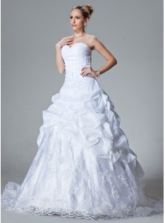 Ball-Gown Sweetheart Chapel Train Taffeta Organza Wedding Dress With Ruffle Lace Beading (002000060)