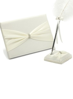 Pretty Satin Rhinestones Guestbook/Pen Set (101036827)