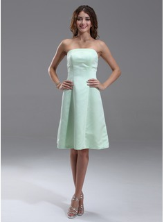 Formal Dresses A-Line/Princess Strapless Knee-Length Satin Bridesmaid Dress (007000867)
