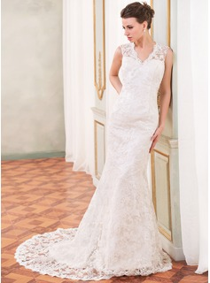 Trumpet/Mermaid V-neck Chapel Train Charmeuse Lace Wedding Dress With Beading Sequins (002055088)