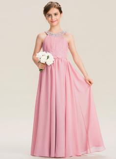 A-Linie U-Ausschnitt Bodenlang Chiffon Spitze Kleid für junge Brautjungfern mit Rüschen Perlstickerei Pailletten (009173285)