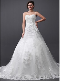 A-Line/Princess Sweetheart Cathedral Train Tulle Wedding Dress With Appliques Lace (002030758)