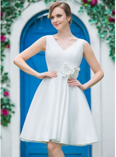 A-Line/Princess V-neck Knee-Length Tulle Wedding Dress With Ruffle Flower(s) (002051519)
