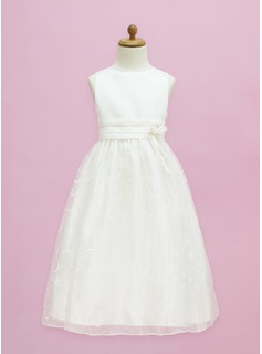 A-Line/Princess Scoop Neck Floor-Length Organza Satin Flower Girl Dress With Flower(s) Bow(s) (010005334)