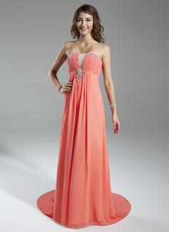 Empire-Linie Herzausschnitt Watteau-falte Chiffon Festliche Kleid mit Rüschen Perlen verziert (020025962)