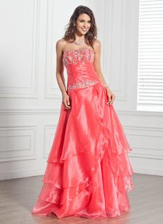 A-Linie/Princess-Linie Trägerlos Bodenlang Organza Quinceañera Kleid (Kleid für die Geburtstagsfeier) mit Bestickt Perlstickerei Pailletten Gestufte Rüschen (021020694)