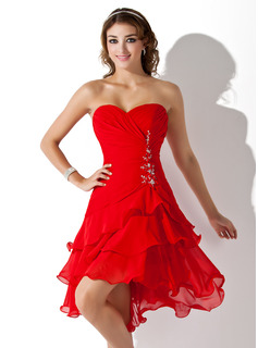Cheap Homecoming Dresses A-Line/Princess Sweetheart Asymmetrical Chiffon Homecoming Dress With Ruffle Beading Sequins (022009369)