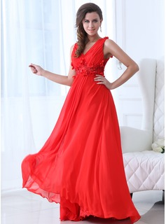 Holiday Dresses A-Line/Princess V-neck Floor-Length Chiffon Holiday Dress With Ruffle Beading Flower(s) (020017333)