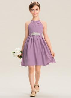 A-Linie U-Ausschnitt Knielang Chiffon Kleid für junge Brautjungfern mit Rüschen Perlstickerei (009173290)