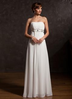Empire-Linie Herzausschnitt Bodenlang Chiffon Kleid für die Brautmutter mit Rüschen Perlen verziert (008015129)