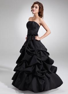 Duchesse-Linie Trägerlos Bodenlang Satin Quinceañera Kleid (Kleid für die Geburtstagsfeier) mit Rüschen Schleife(n) (021020324)