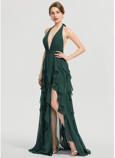 A-Line Halter V-neck Floor-Length Chiffon Prom Dresses With Split Front Cascading Ruffles (018192356)