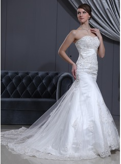 Trumpet/Mermaid Sweetheart Cathedral Train Satin Tulle Wedding Dress With Lace Beading (002000078)