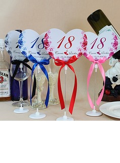 Personalized Heart Shaped Paper Table Number Cards With Holder With Ribbons (Set of 10) (118032236)