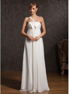 Empire One-Shoulder Floor-Length Chiffon Maternity Bridesmaid Dress With Ruffle Bow(s) (020015083)