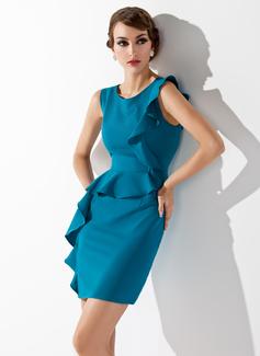 Etui-Linie U-Ausschnitt Kurz/Mini Charmeuse Kleid für die Brautmutter mit Gestufte Rüschen (008013760)