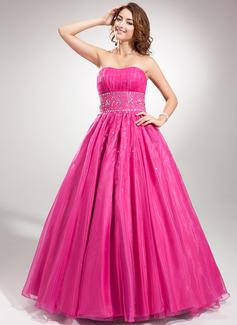 Duchesse-Linie Herzausschnitt Bodenlang Organza Quinceañera Kleid (Kleid für die Geburtstagsfeier) mit Rüschen Perlen verziert (021020642)