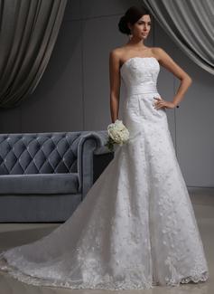 A-Line/Princess Strapless Chapel Train Satin Lace Wedding Dress (002022680)