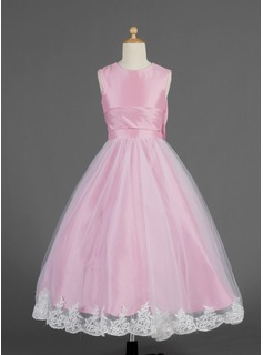 Flower Girl Dresses A-Line/Princess Scoop Neck Tea-Length Taffeta Tulle Flower Girl Dress With Lace (010014621)