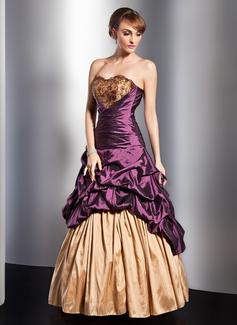 A-Linie/Princess-Linie Herzausschnitt Bodenlang Taft Quinceañera Kleid (Kleid für die Geburtstagsfeier) mit Rüschen Spitze Perlen verziert Blumen (021014747)