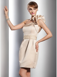 Sheath/Column One-Shoulder Short/Mini Satin Wedding Dress With Beadwork (002011542)