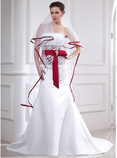 Mermaid Strapless Chapel Train Satin Wedding Dress With Lace Sash Crystal Brooch (002012654)