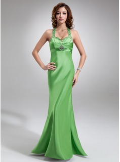 Empire Halter Floor-Length Charmeuse Prom Dress With Ruffle Beading Sequins (018004842)