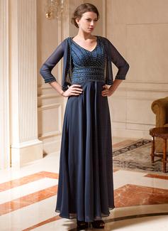 A-Linie/Princess-Linie V-Ausschnitt Knöchellang Chiffon Kleid für die Brautmutter mit Perlen verziert (008019702)