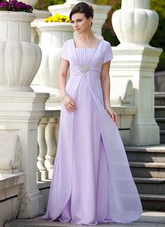 A-Linie/Princess-Linie Rechteckiger Ausschnitt Bodenlang Chiffon Kleid für die Brautmutter mit Rüschen Perlstickerei Pailletten (008024570)