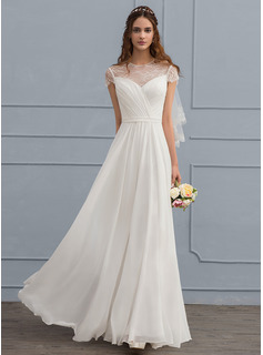 A-Line Illusion Floor-Length Chiffon Wedding Dress With Ruffle (002119793)