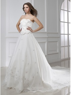 Ball-Gown Strapless Cathedral Train Organza Satin Wedding Dress With Embroidery Beading (002015461)