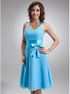 A-Line/Princess Halter Knee-Length Chiffon Satin Bridesmaid Dress With Ruffle Bow(s) (007000937)