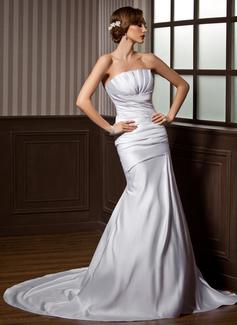 Trumpet/Mermaid Scalloped Neck Chapel Train Satin Wedding Dress With Ruffle (002000607)