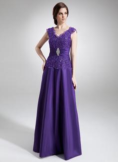 A-Linie/Princess-Linie V-Ausschnitt Bodenlang Taft Kleid für die Brautmutter mit Rüschen Perlen verziert (008006011)