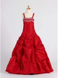 Princess Taffeta Girl Dress With Ruffle/Beading (010005901)