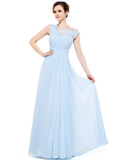 A-Linie/Princess-Linie U-Ausschnitt Bodenlang Chiffon Abendkleid mit Rüschen Perlstickerei Pailletten (017050131)