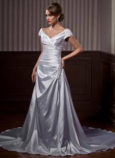 Forme Princesse Epaules nues Traîne courte Charmeuse Robe de mariée avec Plissé Dentelle Emperler (002011663)