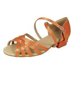 Frauen Kinder Satin Sandalen Flache Schuhe Latin mit Schnalle Tanzschuhe (053013402)
