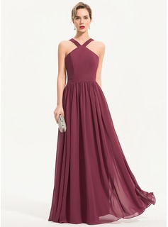A-Line V-neck Floor-Length Chiffon Evening Dress (017186119)