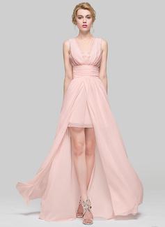 A-Linie/Princess-Linie U-Ausschnitt Bodenlang Chiffon Brautjungfernkleid mit Rüschen Lace Perlstickerei (007090231)