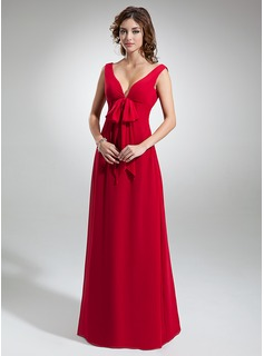 Empire V-neck Floor-Length Chiffon Bridesmaid Dress With Ruffle (007000829)
